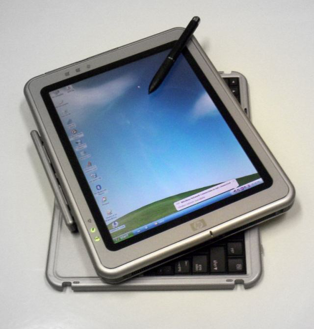 An HP tablet PC running Windows XP Tablet PC Edition. It too has a stylus.