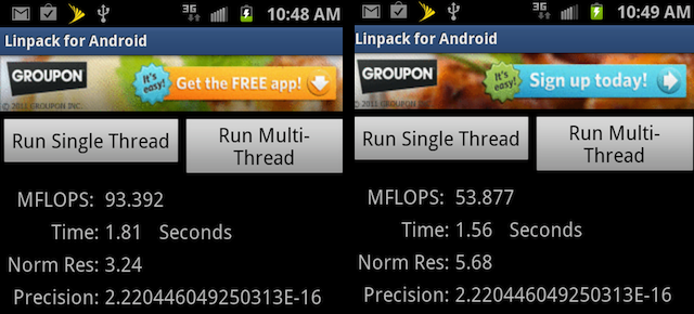 The Galaxy S II's Linpack scores (single-threaded, left, and multi-threaded)