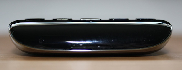 The bottom of the phone with the speaker and microphone
