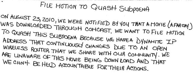The motion to quash