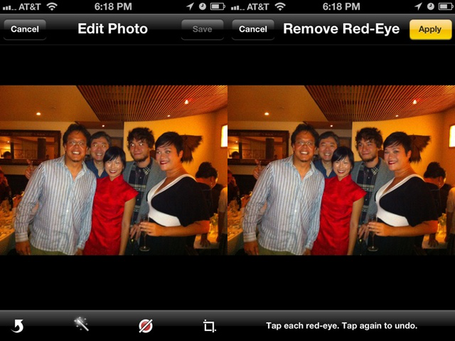 Before the iPhone's red-eye reduction on the left, and after on the right.