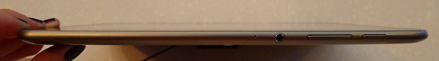 The sleep button, ports, and volume rocker on the Galaxy Tab 8.9
