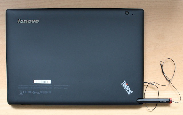 The back of the ThinkPad tablet, with stylus pulled out.
