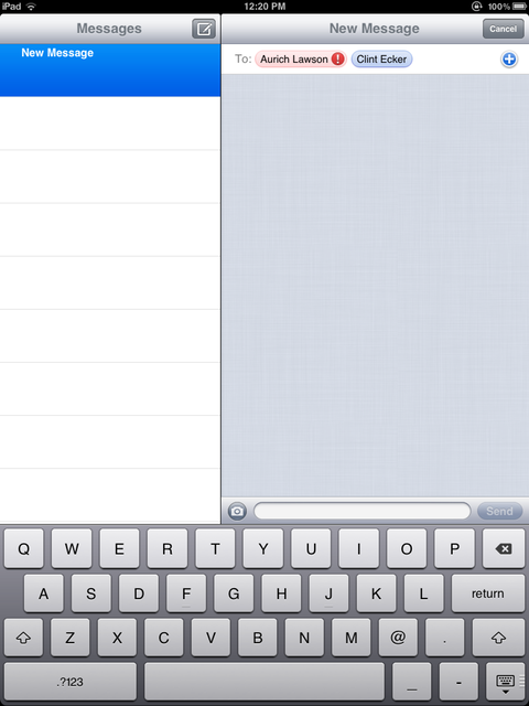 Aurich's e-mail is detected as not being iMessage-compatible, but Clint's is.