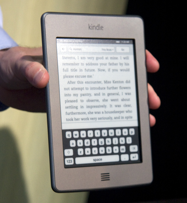 The virtual keyboard of the Kindle Touch.