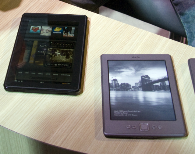 The Kindle Fire is similar in size to the e-ink versions.