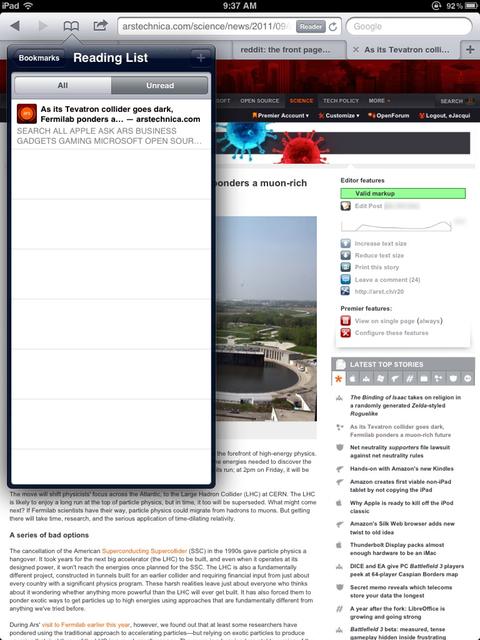 Reading List on the iPad