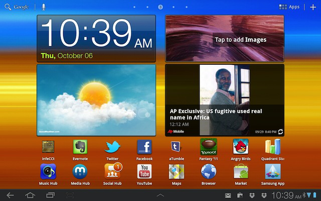 The home screen on the Galaxy Tab 8.9