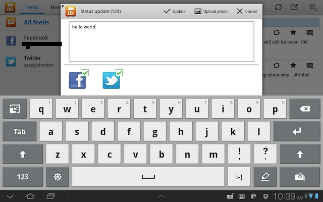 The keyboard on the Tab 8.9 is a bit small, but very responsive even to ten-finger typing.