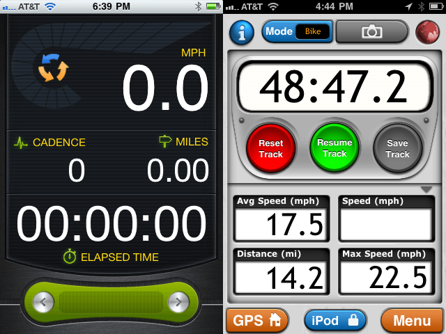 I find the interface of MotionX-GPS to be more intuitive, but you can't get your cadence via GPS