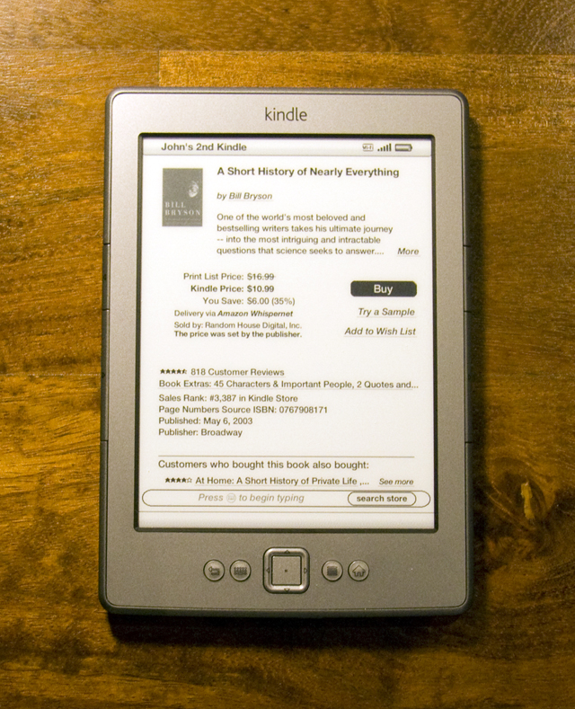 The Kindle's stripped down hardware puts the focus on the screen.