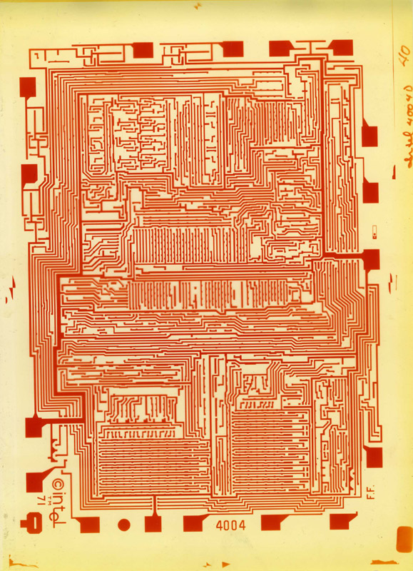 "Intel 4004 metal layout. Federico Faggin's initials can be seen at the bottom right corner. More can be found <a href=""http://www.intel4004.com/sign.htm"">here</a>"