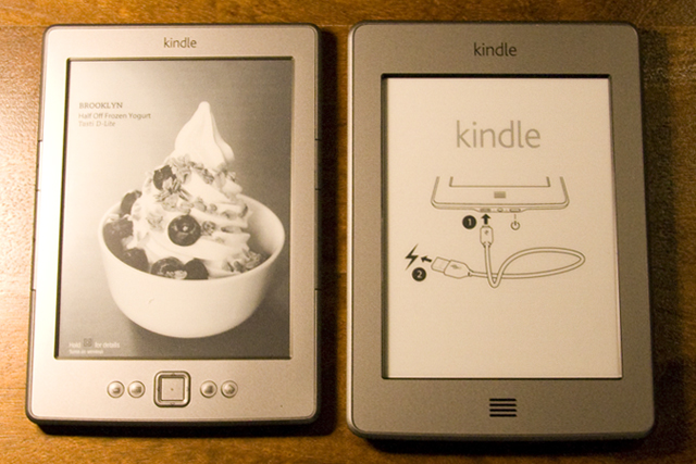 That's not a speaker, it's a button on the Kindle Touch. But that's the only button it's got.