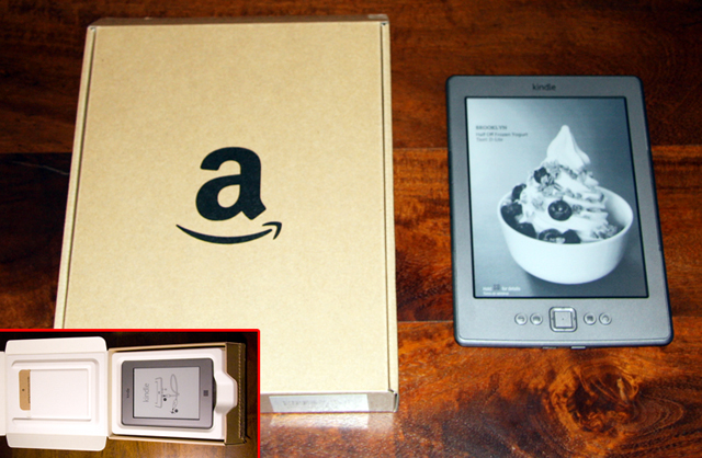 The Kindle packaging is now pretty minimal (inset shows it open), with the non-Touch version shown for comparison..