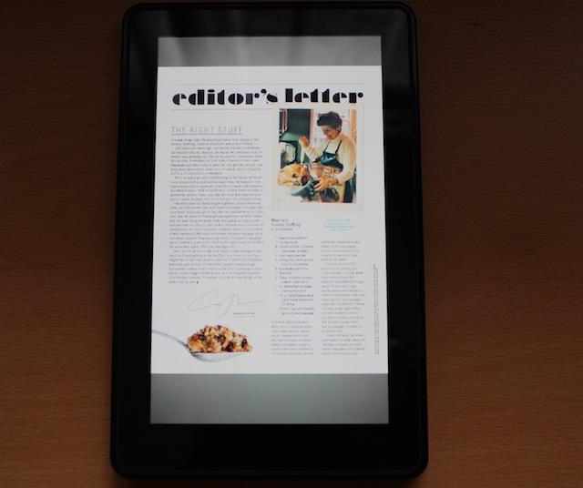 A magazine on the Kindle Fire. Squint! Squint more!