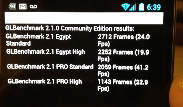 A round of GLBenchmark 2.1 scores for the Galaxy Nexus