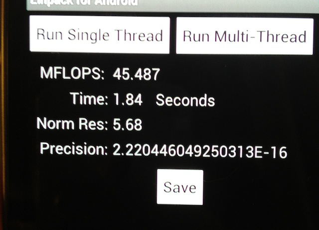 The Linpack score for Galaxy Nexus's single-threaded processes