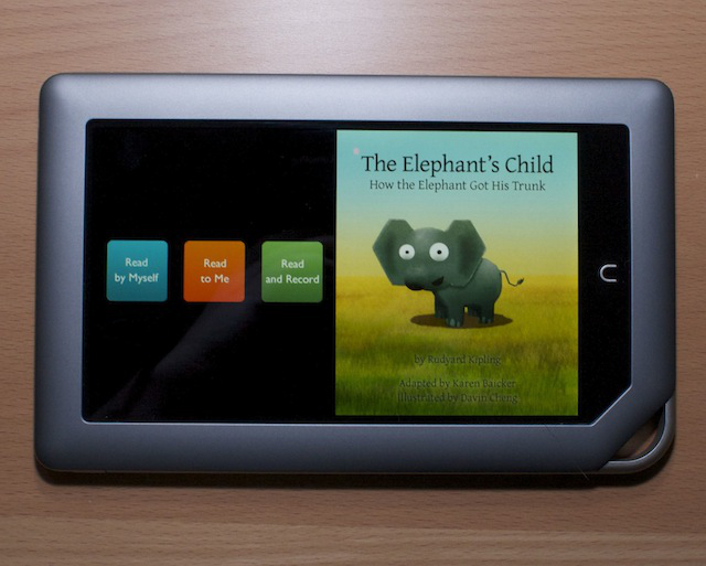 There are options to have children's books read aloud on the Nook Tablet.