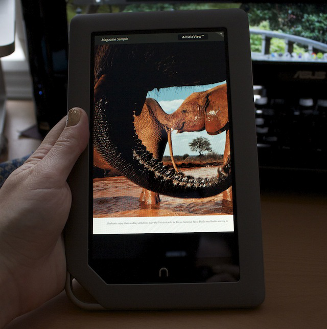 Reading a magazine on the Nook Tablet: pictures are nice, but the font is very, very small.