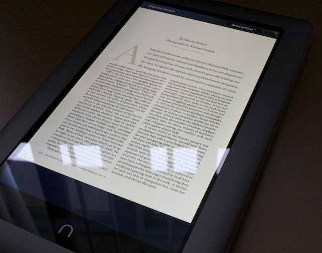 Text rendered for a magazine on the Nook Tablet.