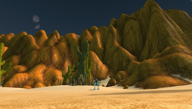 The wide-open passage on the map from Tanaris to Uldum turns out to be blocked by mountains.