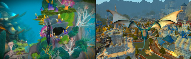 Cataclysm is Azeroth like we've never seen it before. Left, a shot of the underwater zone Vashj'ir, filled with kelp, grottoes, and aggressive sea creatures; right, an aerial shot of Stormwind as seen from a flying mount.