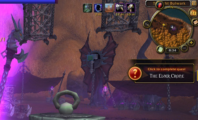 Some quests can be completed through a popup like the one on the right, without finding the questgiver again.