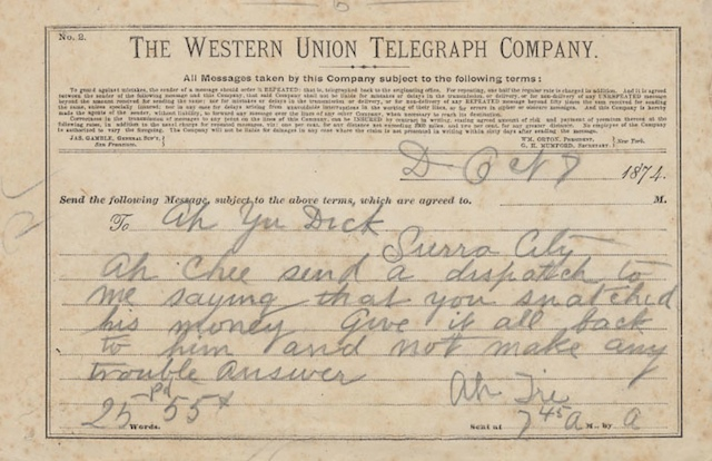 A Western Union telegram from 1874. Read the content to remember what a wild place the West could be
