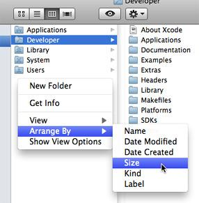 Column view sorting context menu