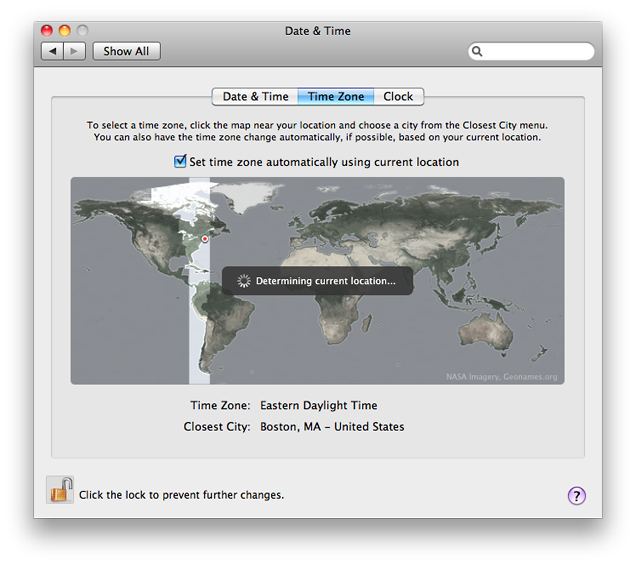 Set your Mac's time zone automatically based on your current location, thanks to Core Location.
