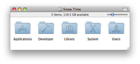 The Finder's icon view with its new slider control