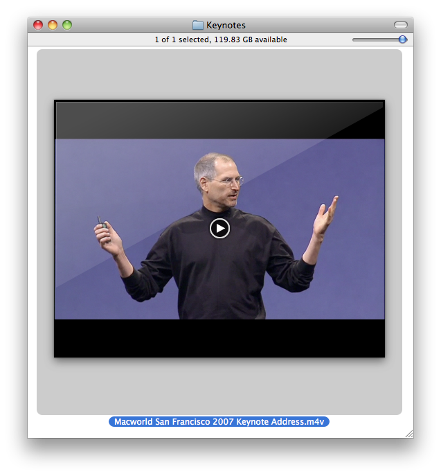 "The Finder's QuickTime preview. (The ""glare"" overlay is a bit much.)"