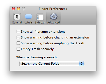 Default Finder search location: configurable at last.