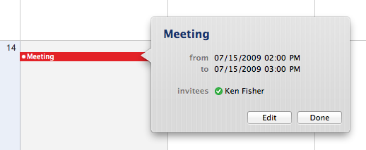 iCal event detail
