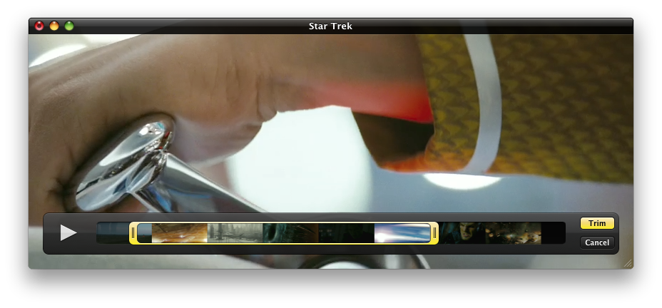 Trimming in the new QuickTime Player