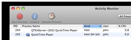 Pretty sneaky, sis: 32-bit QTKitServer process