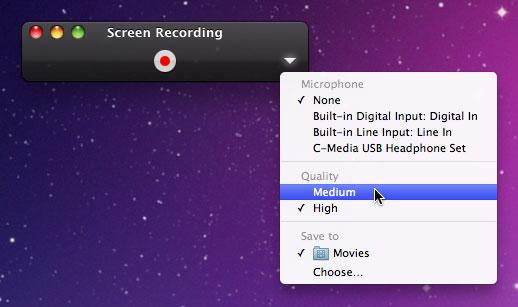 Screen recording in QuickTime Player