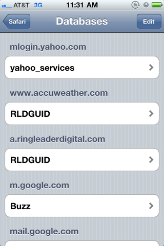 Look in your Mobile Safari databases for RLDGUID.