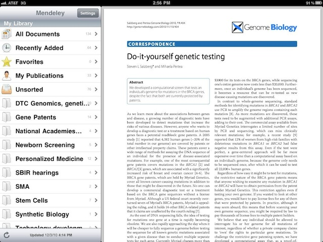 Mendeley Lite, the iPad client