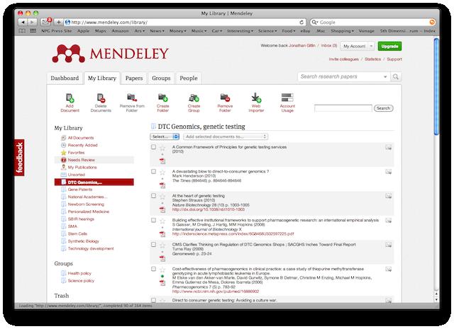 Mendeley's Web interface