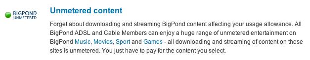 BigPond's unmetered access