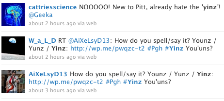 "Yinz, a contraction of the second-person plural ""you ones,"" lives on Twitter."
