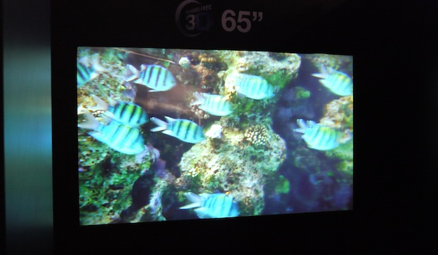 """A 65"""" glasses-free 3D panel from Toshiba."""