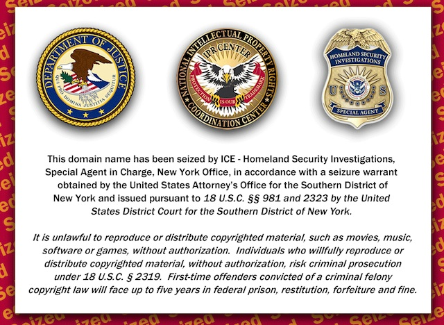 The ICE seizure notice