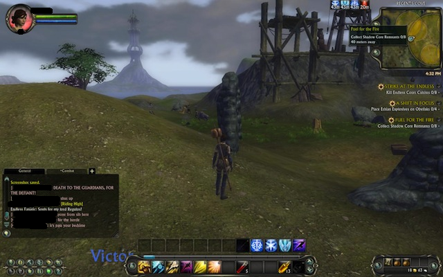 The user interface allows players to see quest objective areas and details on the minimap.