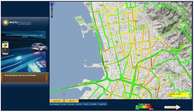 The Mobile Millennium traffic monitoring software. <em>Source: UC Berkeley.</em>