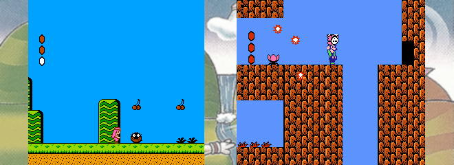 <i>Doki Doki Panic</i>, (left) starred a cast of Arabian Nights-type characters and different enemy designs from <i>Super Mario Bros. 2</i> (right).