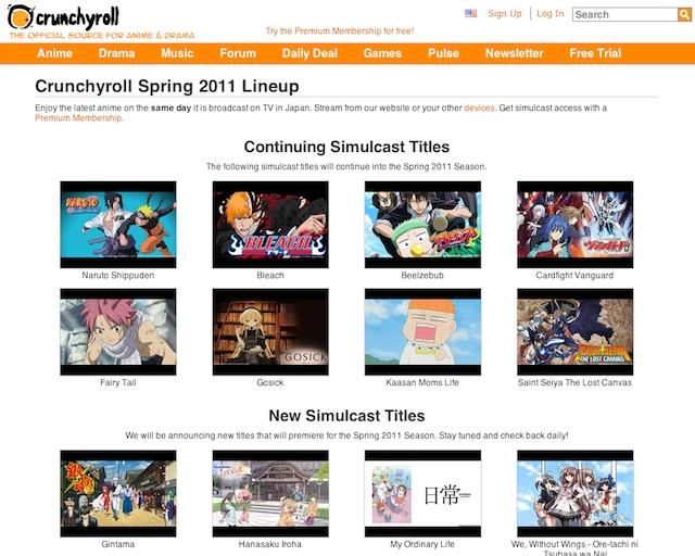 """Crunchyroll's """"simulcast"""" catalog"""