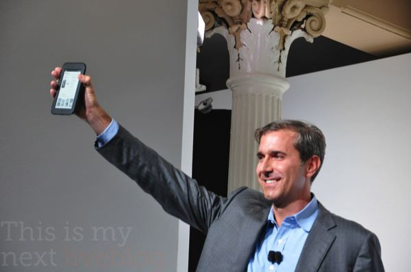 "Barnes &amp; Noble CEO William Lynch showing off the Nook Simple Touch. Image via <a href=""http://live.thisismynext.com/Event/Barnes__Noble_Special_Announcement"">This is my Next</a>"