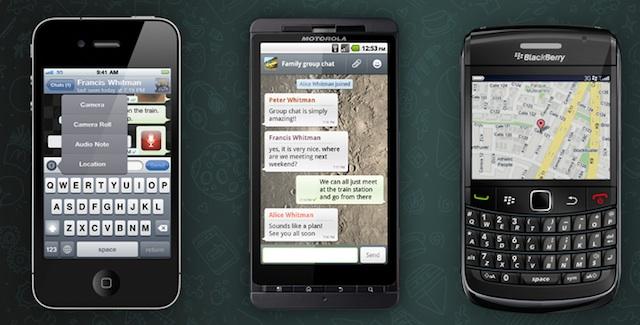 WhatsApp running on several mobile phones